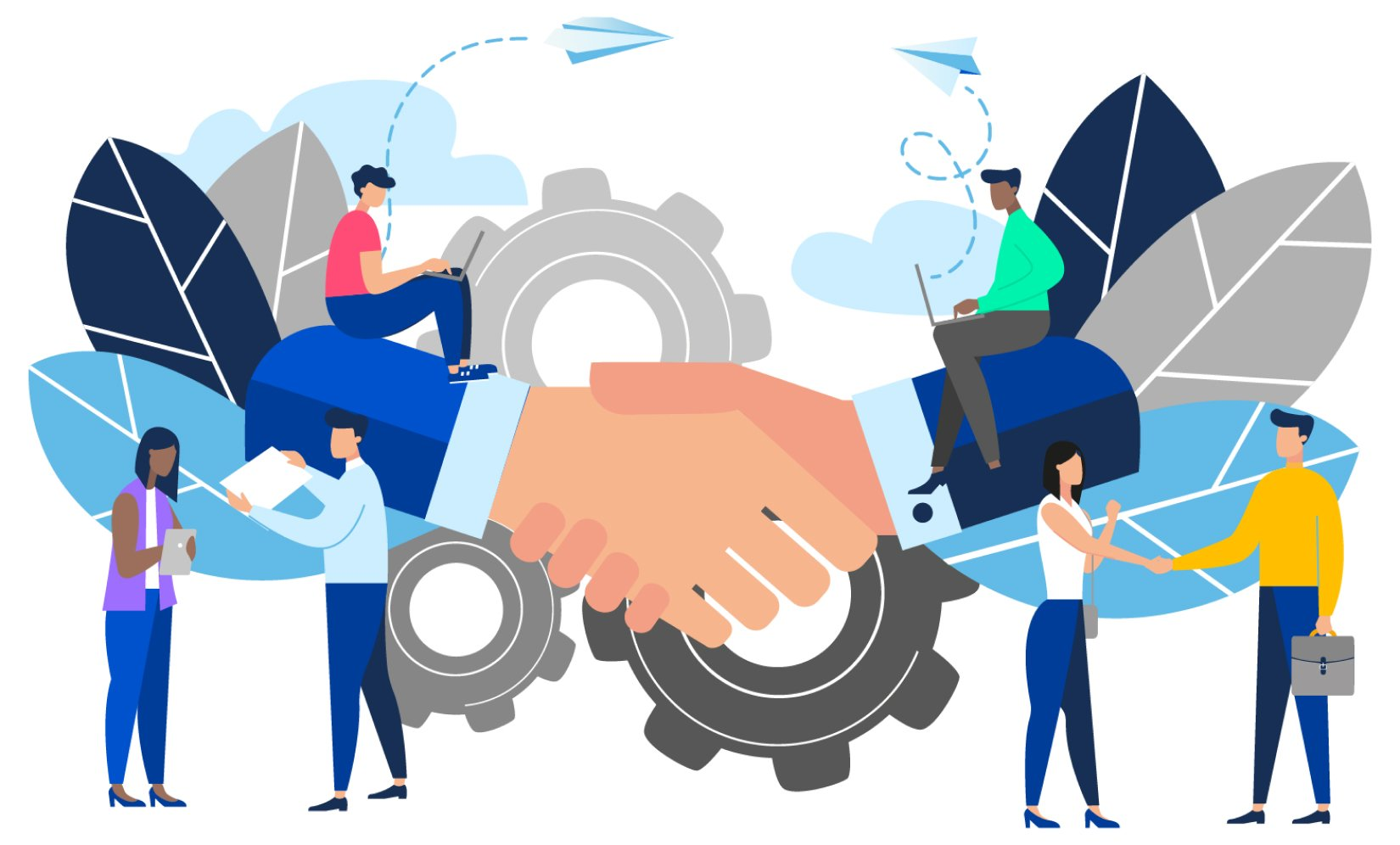 Illustration of law students and employers shaking hands signifying successful law student placements